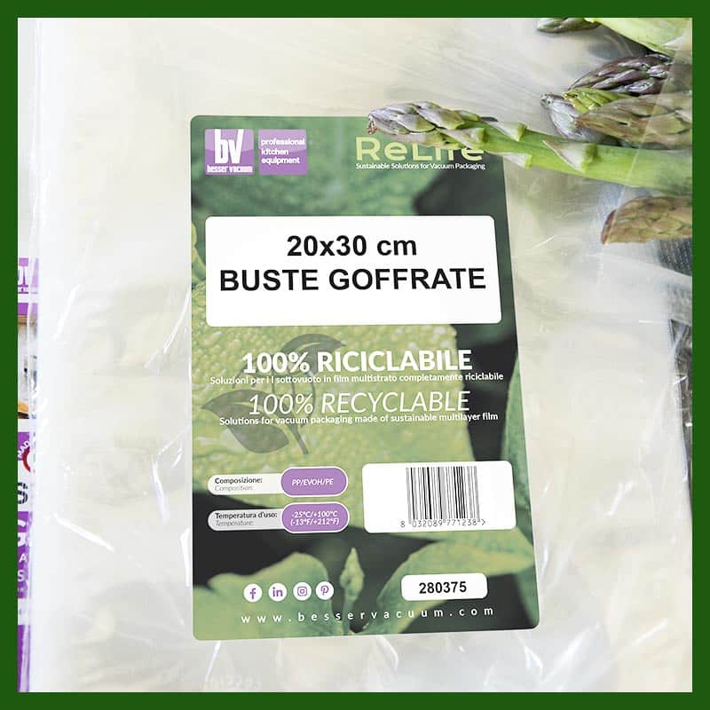 Buste goffrate riciclabili conservazione sottovuoto - Besser Vacuum - Sacchetti goffrati riciclabili conservazione sottovuoto